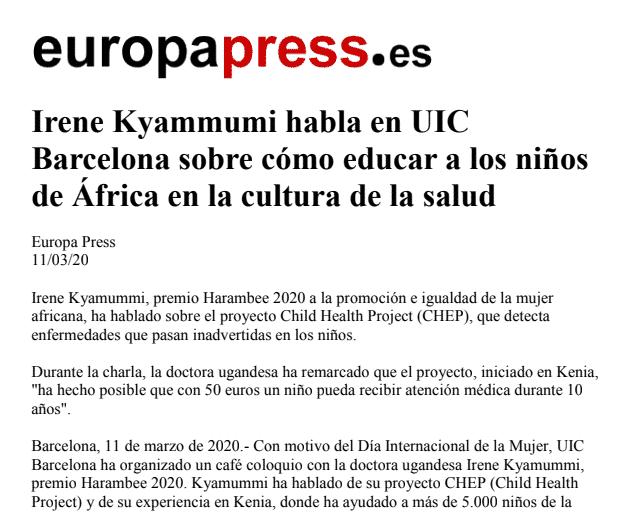 Europa Press | Irene Kyammumi habla en UIC Barcelona sobre cómo educar a los niños de África en la cultura de la salud