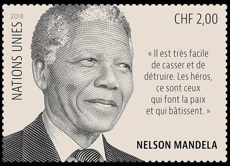 Día Internacional de Nelson Mandela- En 2018 la ONU, emitió un sello conmemorativo con su imagen